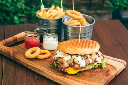 burger, fries, onion rings